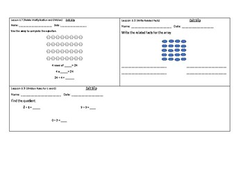 3rd Grade GoMath Chapter 6 Exit Slips