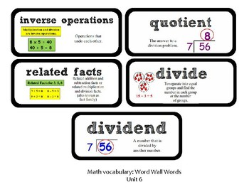 3rd Grade GoMath Chapter 6 Vocabulary Wall Cards