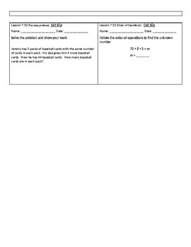 3rd Grade GoMath Chapter 7 Exit Slips