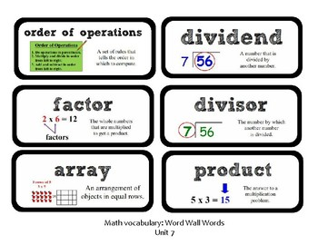 3rd Grade GoMath Chapter 7 Vocabulary Wall Cards
