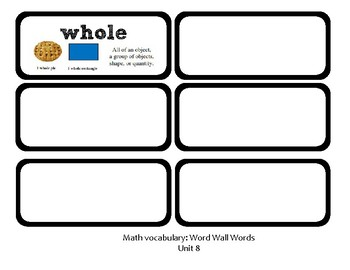 3rd Grade GoMath Chapter 8 Vocabulary Wall Cards