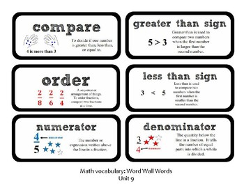 3rd Grade GoMath Chapter 9 Vocabulary Wall Cards