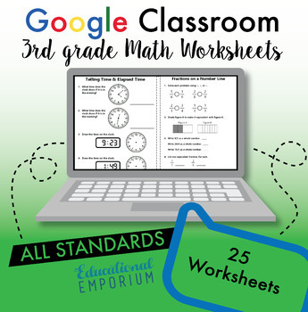 3rd Grade Google Classroom Math Bundle, Interactive Digital Math Curriculum, 3rd