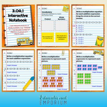 3rd Grade Google Classroom Math Interactive Notebook, Digital: All Standards