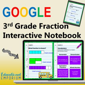 3rd Grade Google Classroom Math Interactive Notebook, Digital: Fractions Domain