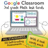 3rd Grade Google Classroom Math Task Cards, Auto-Graded Task Cards, Digital
