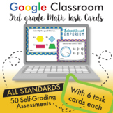 Google Classroom Math Task Cards ⭐ 3rd Grade ⭐ AUTOMATICALLY GRADED