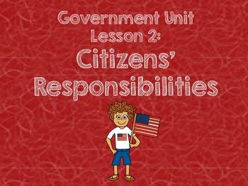3rd Grade Government Unit - Lesson 2 Pack: Citizens' Respo