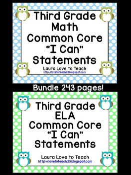"""3rd Grade CCSS Math and ELA """"I Can"""" Statements/Standards BUNDLE (Owl Themed)"""