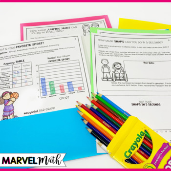 3rd Grade Graphs and Data Book: Pictograph, Bar Graph, Dot Plot by Marvel Math