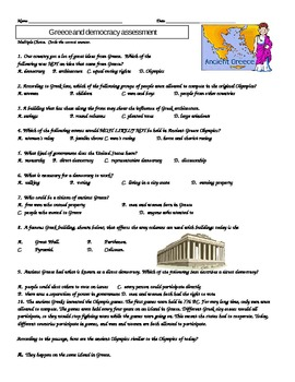 3rd Grade Greece and Democracy Study Guide, Vocabulary, and Assessment