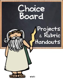 Choice Board: Greek Roots - Board, Rubric & Graphic Organizers