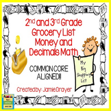 Money and Decimals Math Task Cards: Grocery Lists to Add Total Value
