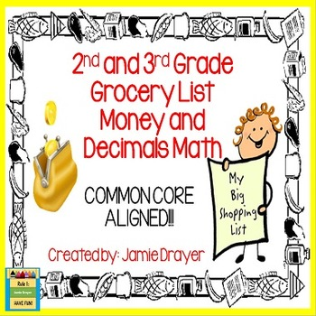 Money and Decimals Math Task Cards: Grocery Lists to Add T