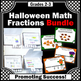 Halloween Math Activities BUNDLE 3rd Grade Fractions on a Number Line Task Cards