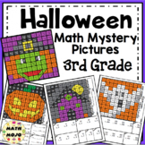 3rd Grade Halloween Math Mystery Pictures: Halloween Color By Number Activities