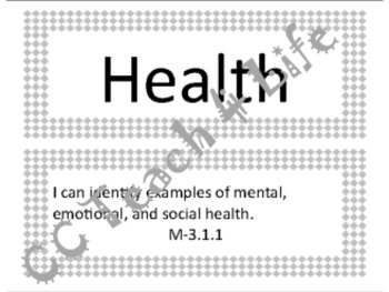 """3rd Grade Health """"I Can..."""" Statements"""
