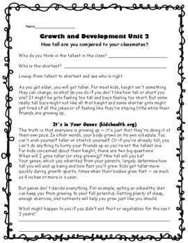 3rd Grade Health - Unit 2: Growth and Development