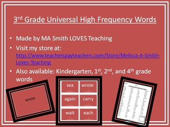 3rd Grade High Frequency Sight Words Pack - PP, List, and Cards