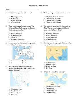 3rd Grade History - Our Amazing Planet Unit Test