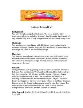 Rd Grade Holidays Childrens Engineering STEM Design Brief By - Game design brief