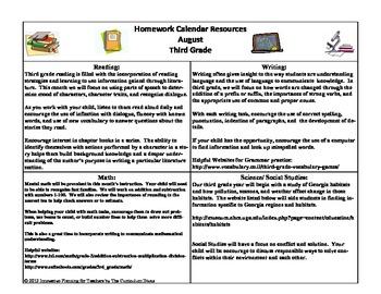 3rd Grade Homework Calendar For the Year