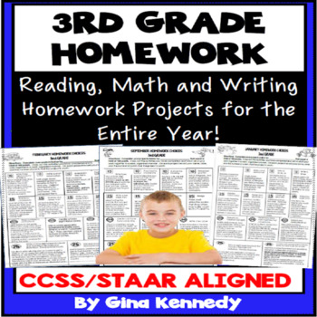 3rd Grade Math, Reading and Writing Homework for the Entire Year!