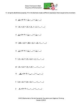 3rd Grade Homework for Properties of Multiplication