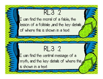 """3rd Grade """" I Can"""" Common Core Posters- Flip Flops and Dots Themed"""
