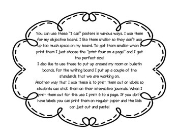 "3rd Grade ""I Can"" Reading CCSS Statement Posters **Editable**"