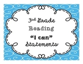 """3rd Grade """"I Can"""" Reading CCSS Statement Posters **Editable**"""