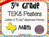 """3rd Grade """"I Can"""" Statement TEKS Objectives Posters for Ma"""