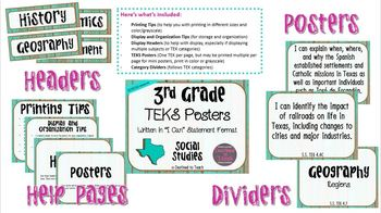 """3rd Grade """"I Can"""" Statement TEKS Objectives Posters for S.S. - Distressed"""