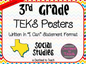"""3rd Grade """"I Can"""" Statement TEKS Objectives Posters for S.S. - Primary"""