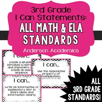 "3rd Grade ""I Can"" Statements Bundle: All Standards - Black & White"