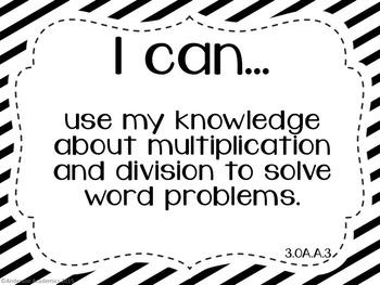 "3rd Grade ""I Can"" Statements Bundle: All Standards - Black & White"