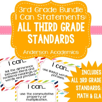 """3rd Grade """"I Can"""" Statements Bundle: All Standards - Rainbow"""