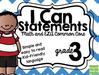 3rd Grade I Can Statements Common Core ELA & Math BUNDLE
