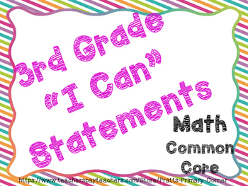 3rd Grade I Can Statements Common Core math- Bright Colors