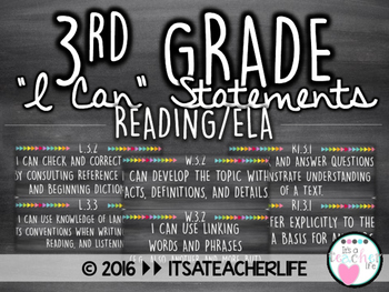 3rd Grade I Can Statements | ELA/Reading Wall Cards