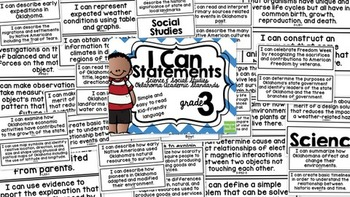 3rd Grade I Can Statements Oklahoma Academic Standards Science and S.S.