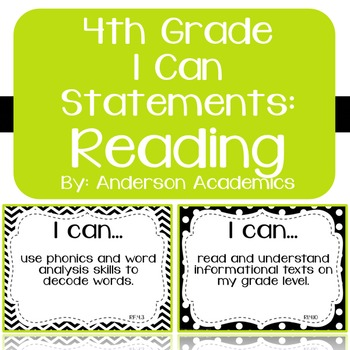 """4th Grade """"I Can"""" Statements: Reading - Black & White"""