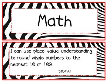 3rd Grade Common Core Math and ELA I Can Statements Red Zebra Theme