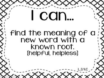 "3rd Grade ""I Can"" Statements: Writing, Speaking & Listening, Language - B&W"