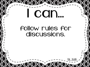 "3rd Grade ""I Can"" Statements: Writing, Speaking & Listening, Language - B&W"