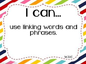 "3rd Grade ""I Can"" Statements: Writing, Speaking & Listening, Language - Rainbow"