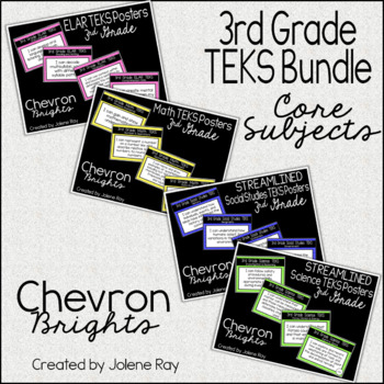 "3rd Grade ""I Can"" TEKS Statement Poster Bundle: CHEVRON BRIGHTS"