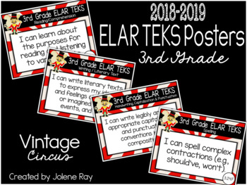 "3rd Grade ""I Can"" TEKS Statement Poster Bundle: VINTAGE CIRCUS"