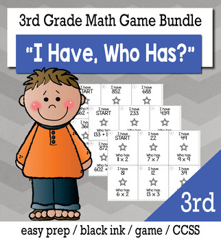 "3rd  Grade ""I Have, Who Has"" Math Game Bundle"