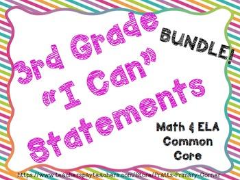 3rd Grade I can Statements ELA & Math Bundle- Bright Colors